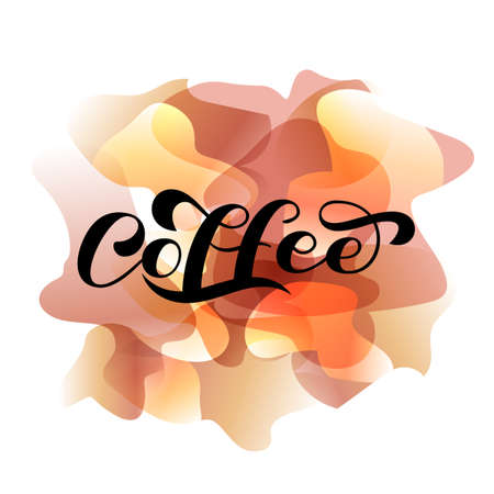 Coffee lettering. Watercolor abstract background for banner or poster. Vector illustration