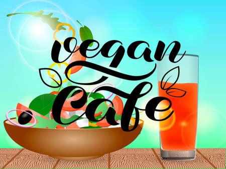 Brown bowl full of vegetarian salad. Vegan cafe lettering. Orange juice in a glass. Vector illustration