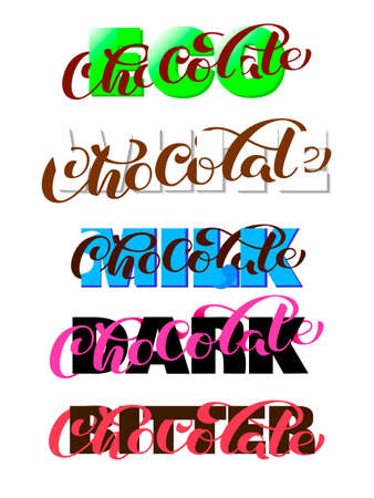 Eco, white, milk, dark, bitter,  chocolate brush lettering. Overlapping Text Layout. Vector illustration for banner or poster Иллюстрация