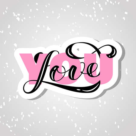 Love you brush lettering. Overlapping Text Layout. Vector illustration for banner or poster