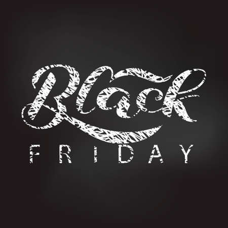 Black friday lettering. Quote for card or clothes. Vector illustration  イラスト・ベクター素材