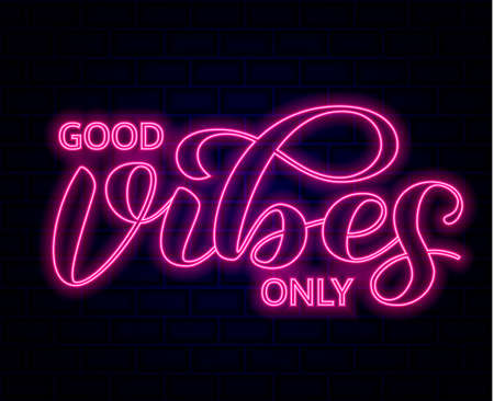 Good vibes only  lettering. Optimistic quote for clothes, banner or postcard. Vector illustration