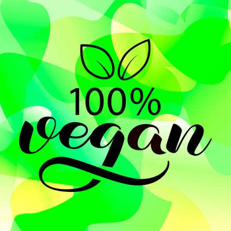 Vegan brush lettering. Vector illustration for food packaging