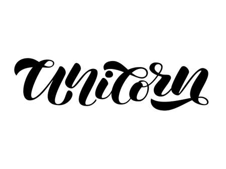 Unicorn brush  lettering. Vector illustration for card or clothes