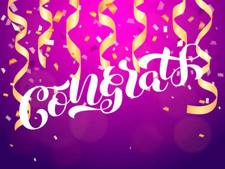 Congrats brush  lettering. Vector illustration for clothes or card