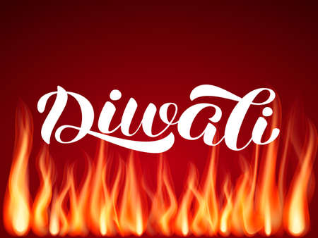 Diwali holiday lettering, Vector illustration with flame