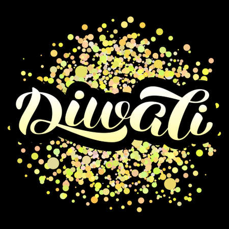Diwali holiday lettering, Vector illustration with golden confetti