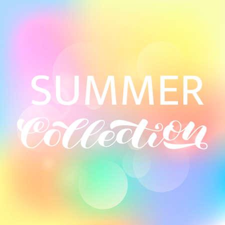 Letnia kolekcja pędzla napis. Ilustracja wektorowa plakatu lub karty
