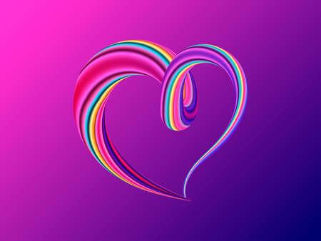 Liquid purple  colorful heart. Vector illustration