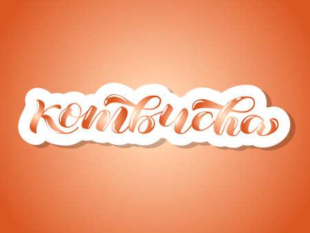 Kombucha brush brush lettering. Vector illustration for banner