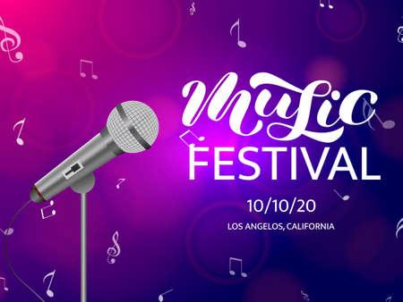 Music festival  brush lettering. Vector illustration Stock Illustratie