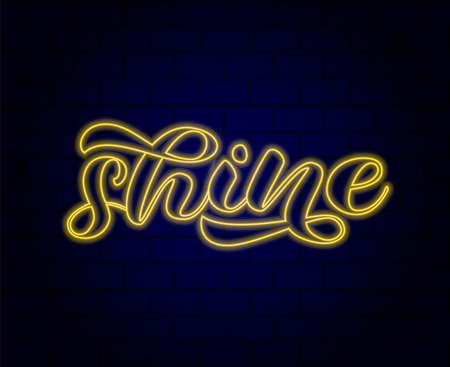 Shine bright lettering. Word for banner. Vector illustration