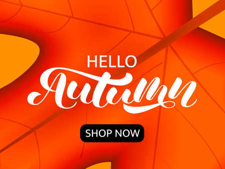 Hello Autumn brush lettering. Vector illustration for card
