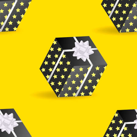 Yellow abstract background with gift box with bow. Vector illustration. Seamless pattern Stock Illustratie