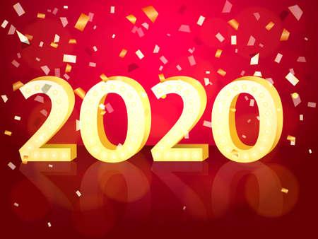 2020 date. Vector illustration for poster Иллюстрация