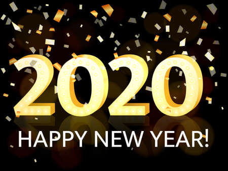 2020 New Year. illustration for poster or banner
