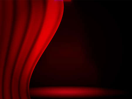 Vector illustration. Empty red opened curtains background for card Stock fotó