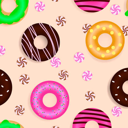 Different donuts with candies. Seamless pattern. Stock fotó