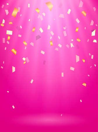 Rays of light. Falling Confetti. Vector illustration for poster. Stock fotó
