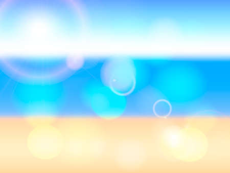 Blurred background with sea beach and sunny rays.