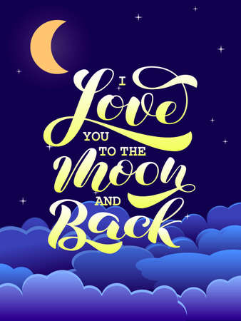 I Love you to the moon and back brush lettering. Stock fotó
