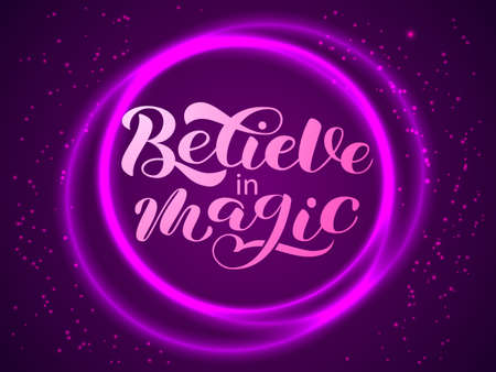 Believe in magic lettering. Purple crystal ball. Stock fotó
