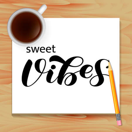 Sweet Vibes brush lettering. Stock fotó - 132198136