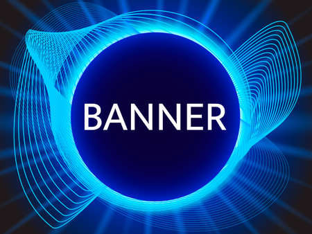 Blue abstract banner with light rays. Vector illustration for poster or card