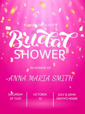 Bridal shower lettering. Word for banner or poster. Vector illustration Stock fotó