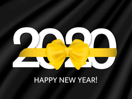 Golden bow knotted on a 2020 date. Vector illustration for poster