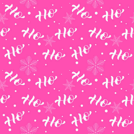 Ho ho lettering. Seamless pattern. Vector illustration for card or poster Illusztráció