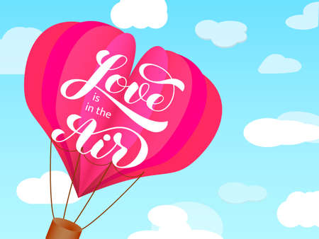 Love is in the air brush lettering. Vector illustration for banner or poster