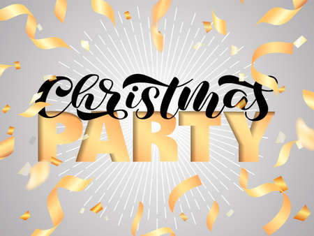 Christmas party brush lettering. Vector illustration for poster or banner