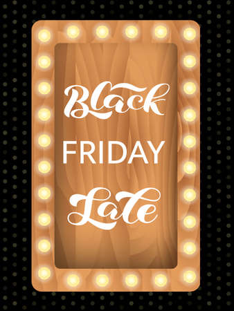 Black friday sale lettering on a wooden sign board. Quote for card or banner. Vector stock illustration Ilustrace