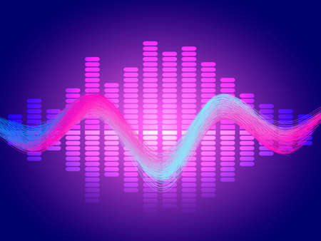 Music neon equalizer. Vector stock illustration for poster or card Stock Illustratie