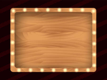 Brown wooden board with light bulbs on a wall. Vector stock illustration for card or banner