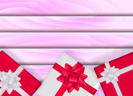 Pink wooden background with gift boxes. Vector stock illustration for card or banner