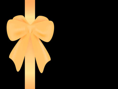 Golden bow on a black background. Vector stock illustration for poster or banner