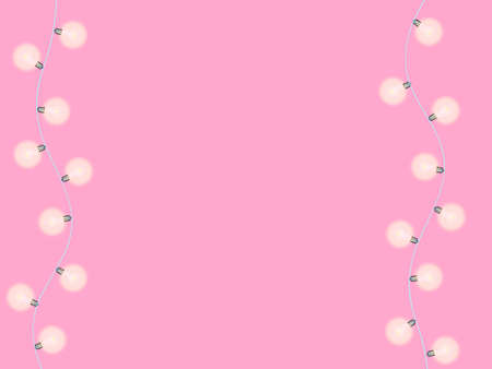 Light bulbs garland on a pink background. Vector illustration for poster or banner