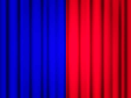 Vector stock illustration. Blue and red closed curtains background for game competition.