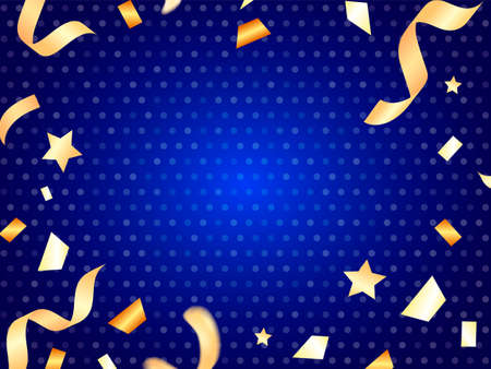 Vector stock illustration. Blue background with falling confetti for card or poster