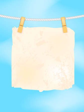Sheet of paper on a with blue sky background. Vector stock illustration for banner or poster. Space for text