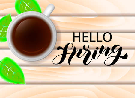 Hello spring lettering. Vector stock illustration for poster or banner