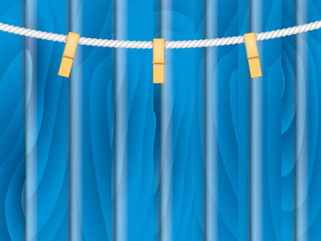 Cloth line on a blue wooden background. Vector stock illustration for banner or poster. Space for text