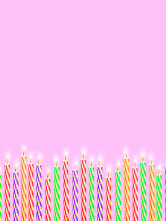 Colorful festive candles on a pink background. Vector stock illustration Ilustrace