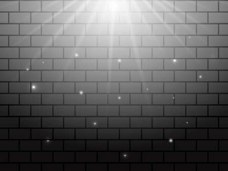 Light rays on a grey brick background. Vector stock illustration for poster or banner