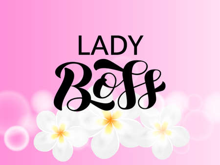 Lady Boss brush lettering. Quote for card or clothes. Vector stock illustration Vettoriali