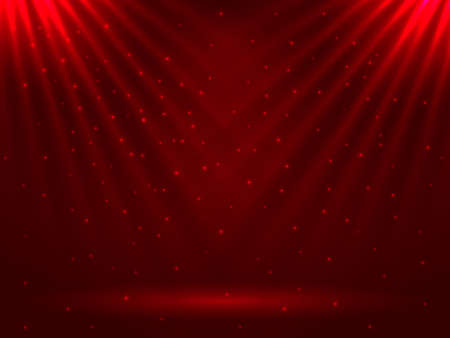 Vector stock illustration. Shiny rays of light on a red background for poster or banner