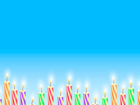 Colorful festive candles on a blue background. Vector stock illustration