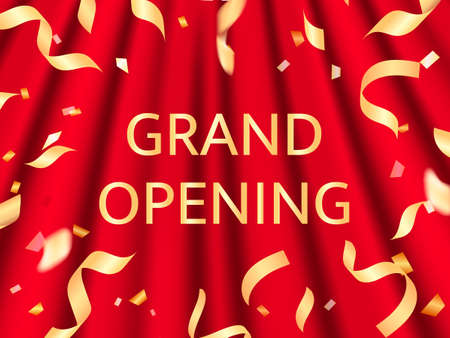 Vector illustration. Grand opening. Red curtains background with golden confetti for card